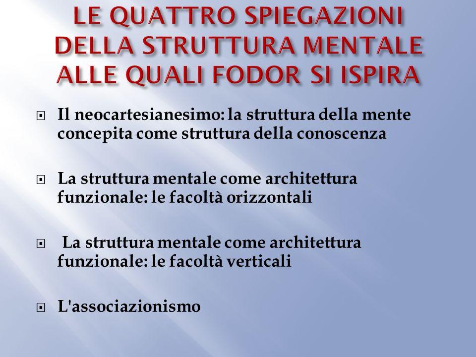Il neocartesianesimo: la struttura della mente concepita come struttura della conoscenza La struttura mentale come architettura funzionale: le facoltà orizzontali La struttura mentale come architettura funzionale: le facoltà verticali L associazionismo