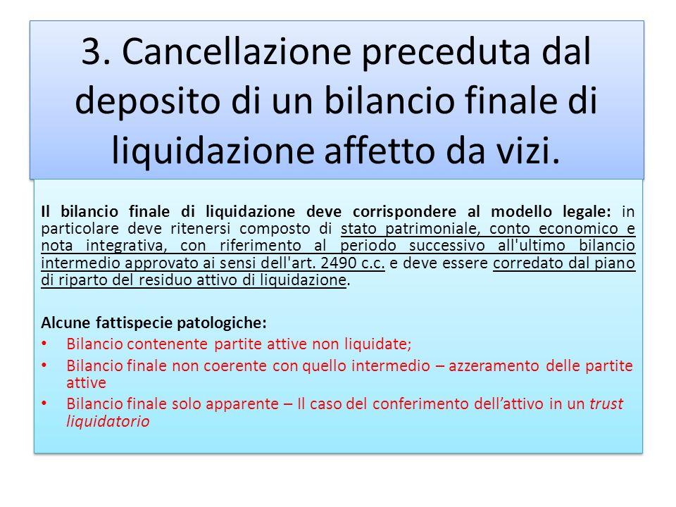 3. Cancellazione preceduta dal deposito di un bilancio finale di liquidazione affetto da vizi. Il bilancio finale di liquidazione deve corrispondere a