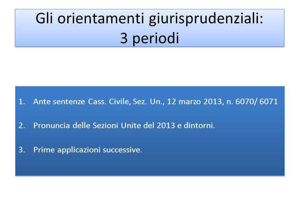 Gli orientamenti giurisprudenziali: 3 periodi 1.Ante sentenze Cass. Civile, Sez. Un., 12 marzo 2013, n. 6070/ 6071 2.Pronuncia delle Sezioni Unite del