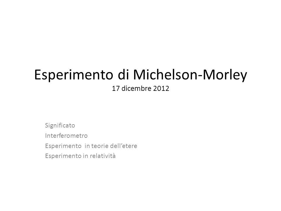 Esperimento di Michelson-Morley 17 dicembre 2012 Significato Interferometro Esperimento in teorie delletere Esperimento in relatività
