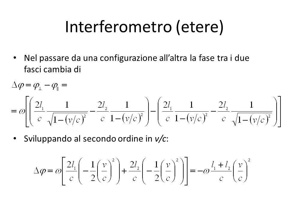 Interferometro (etere) Nel passare da una configurazione allaltra la fase tra i due fasci cambia di Sviluppando al secondo ordine in v/c: