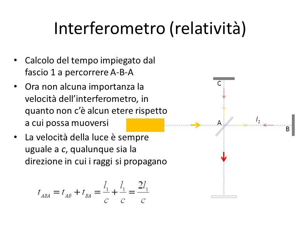 Interferometro (relatività) Calcolo del tempo impiegato dal fascio 1 a percorrere A-B-A Ora non alcuna importanza la velocità dellinterferometro, in q