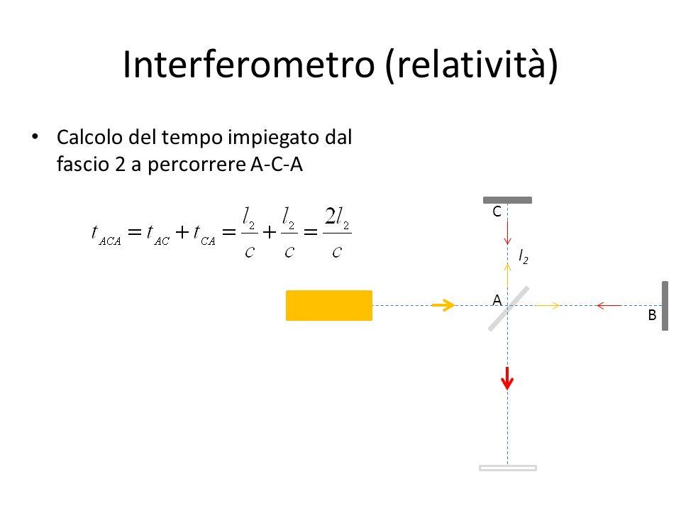 Interferometro (relatività) Calcolo del tempo impiegato dal fascio 2 a percorrere A-C-A A C B l2l2