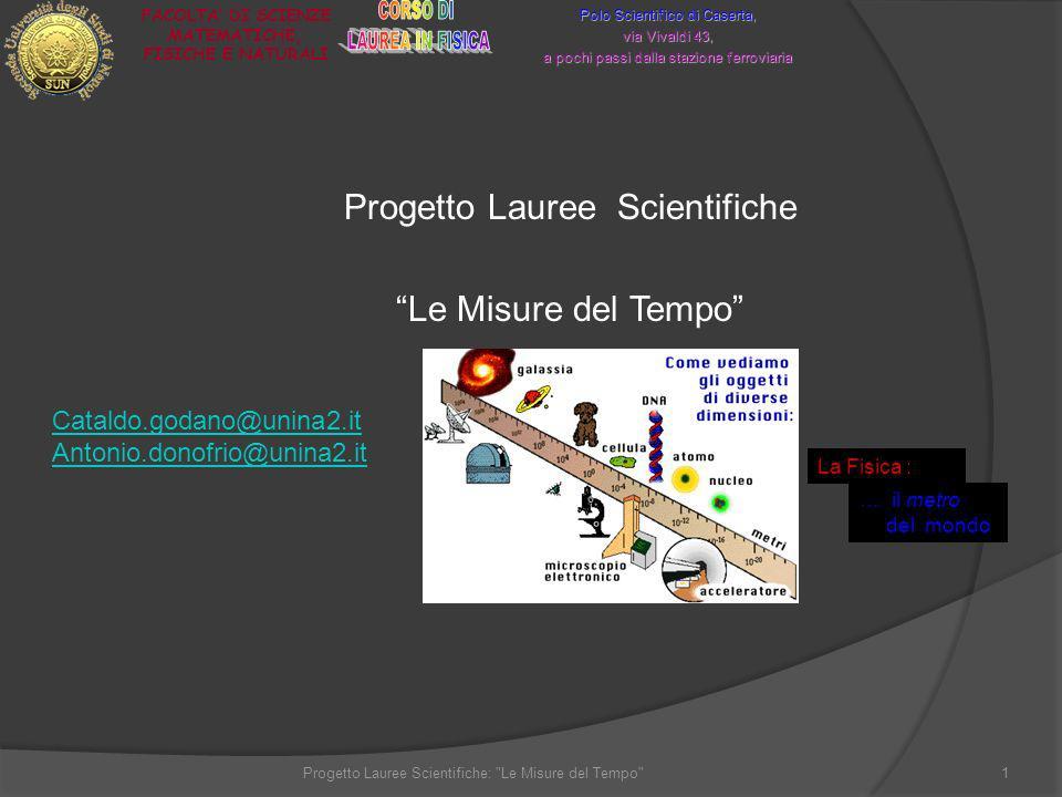 Progetto Lauree Scientifiche Le Misure del Tempo Polo Scientifico di Caserta, via Vivaldi 43, a pochi passi dalla stazione ferroviaria FACOLTA DI SCIE