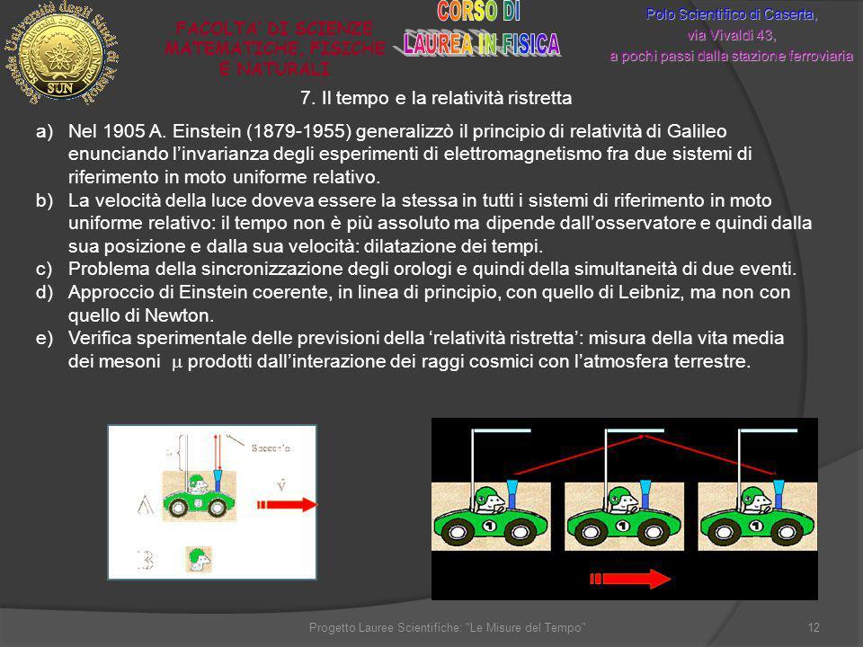 7. Il tempo e la relatività ristretta Polo Scientifico di Caserta, via Vivaldi 43, a pochi passi dalla stazione ferroviaria FACOLTA DI SCIENZE MATEMAT