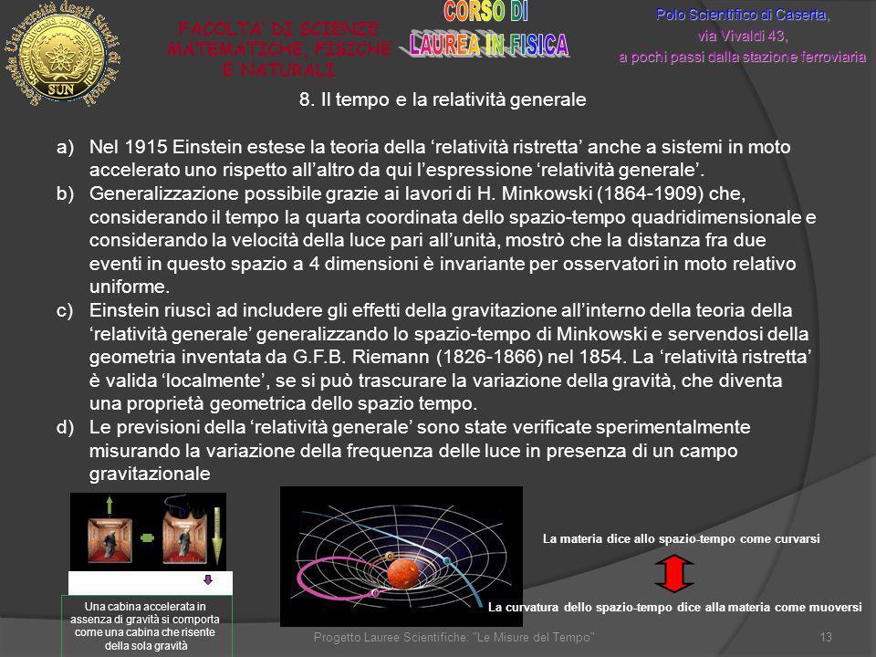 8. Il tempo e la relatività generale Polo Scientifico di Caserta, via Vivaldi 43, a pochi passi dalla stazione ferroviaria FACOLTA DI SCIENZE MATEMATI