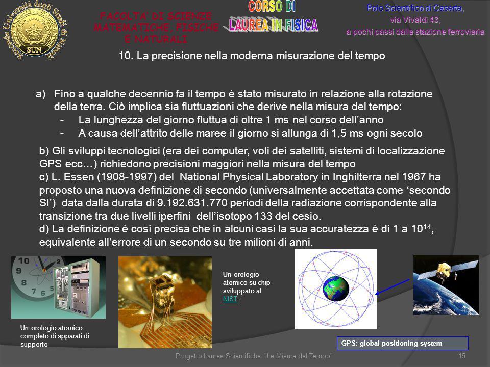 10. La precisione nella moderna misurazione del tempo Polo Scientifico di Caserta, via Vivaldi 43, a pochi passi dalla stazione ferroviaria FACOLTA DI