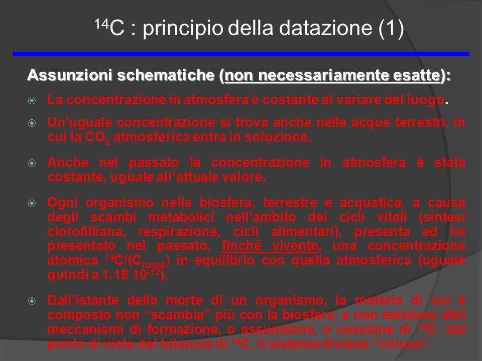 Assunzioni schematiche (non necessariamente esatte): La concentrazione in atmosfera è costante al variare del luogo. Unuguale concentrazione si trova