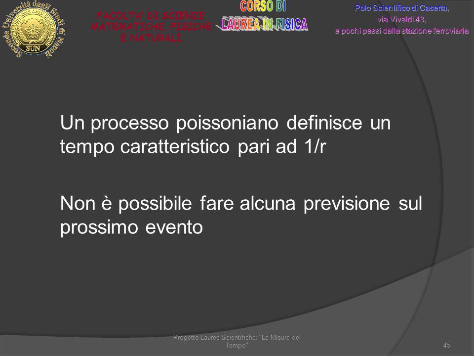 Un processo poissoniano definisce un tempo caratteristico pari ad 1/r Non è possibile fare alcuna previsione sul prossimo evento Progetto Lauree Scien
