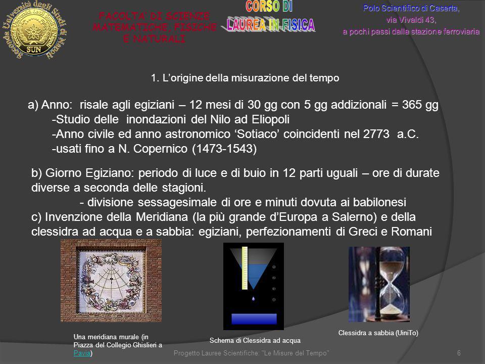 1. Lorigine della misurazione del tempo Polo Scientifico di Caserta, via Vivaldi 43, a pochi passi dalla stazione ferroviaria FACOLTA DI SCIENZE MATEM