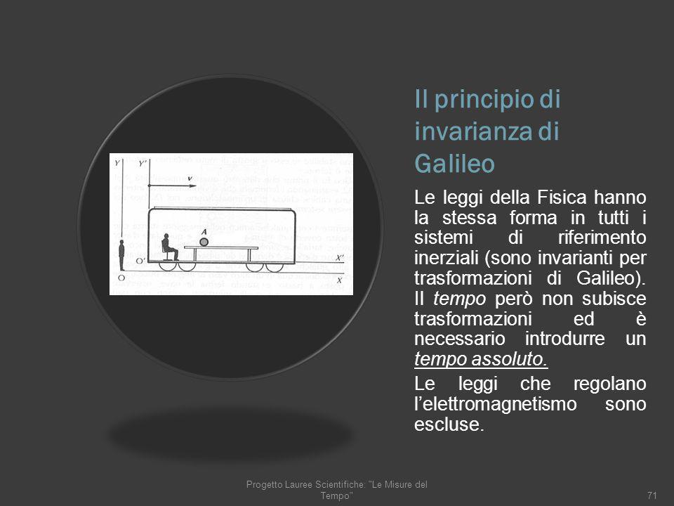 Il principio di invarianza di Galileo Le leggi della Fisica hanno la stessa forma in tutti i sistemi di riferimento inerziali (sono invarianti per tra