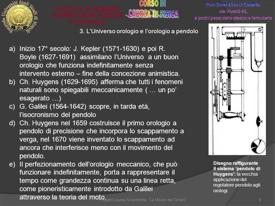 3. LUniverso orologio e lorologio a pendolo Polo Scientifico di Caserta, via Vivaldi 43, a pochi passi dalla stazione ferroviaria FACOLTA DI SCIENZE M