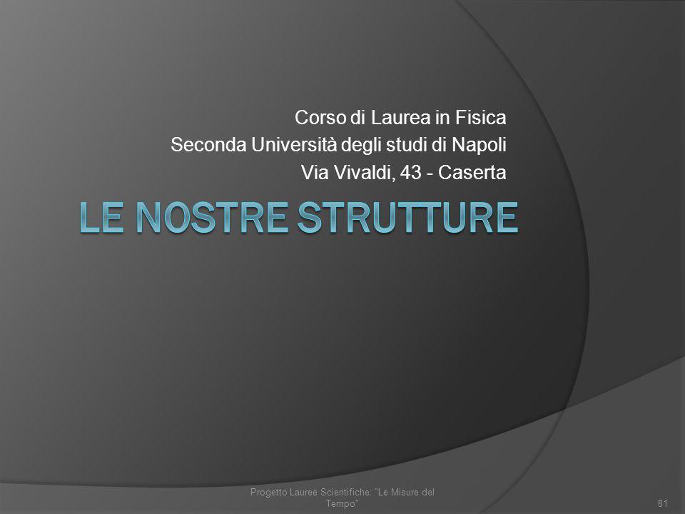 Corso di Laurea in Fisica Seconda Università degli studi di Napoli Via Vivaldi, 43 - Caserta 81 Progetto Lauree Scientifiche: