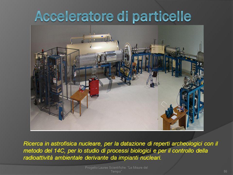 Ricerca in astrofisica nucleare, per la datazione di reperti archeologici con il metodo del 14C, per lo studio di processi biologici e per il controll
