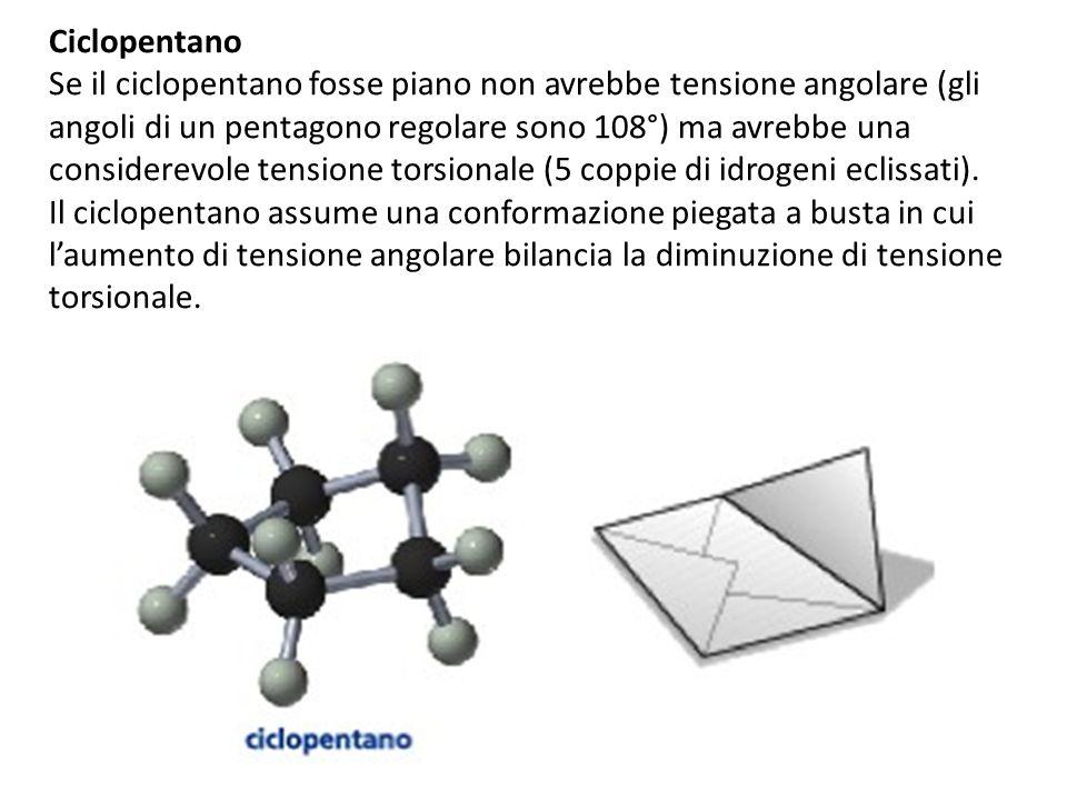 Ciclopentano Se il ciclopentano fosse piano non avrebbe tensione angolare (gli angoli di un pentagono regolare sono 108°) ma avrebbe una considerevole tensione torsionale (5 coppie di idrogeni eclissati).
