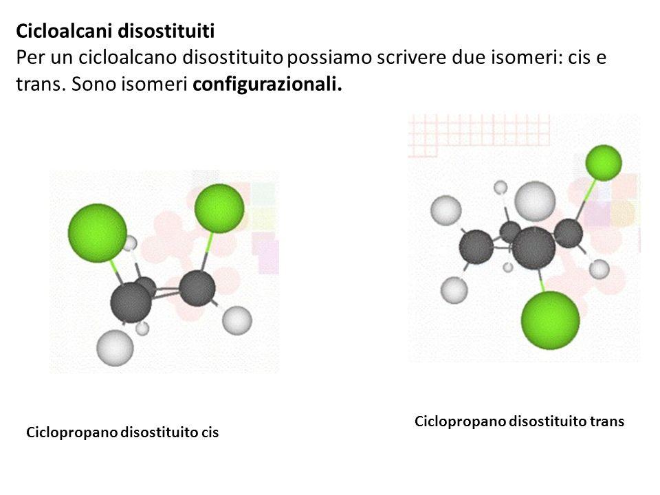 Cicloalcani disostituiti Per un cicloalcano disostituito possiamo scrivere due isomeri: cis e trans.