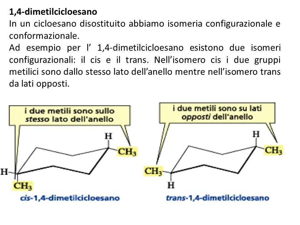 1,4-dimetilcicloesano In un cicloesano disostituito abbiamo isomeria configurazionale e conformazionale.