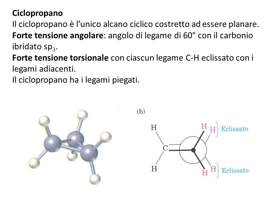 Ciclopropano Il ciclopropano è lunico alcano ciclico costretto ad essere planare.