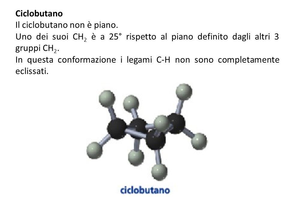 Ciclobutano Il ciclobutano non è piano.