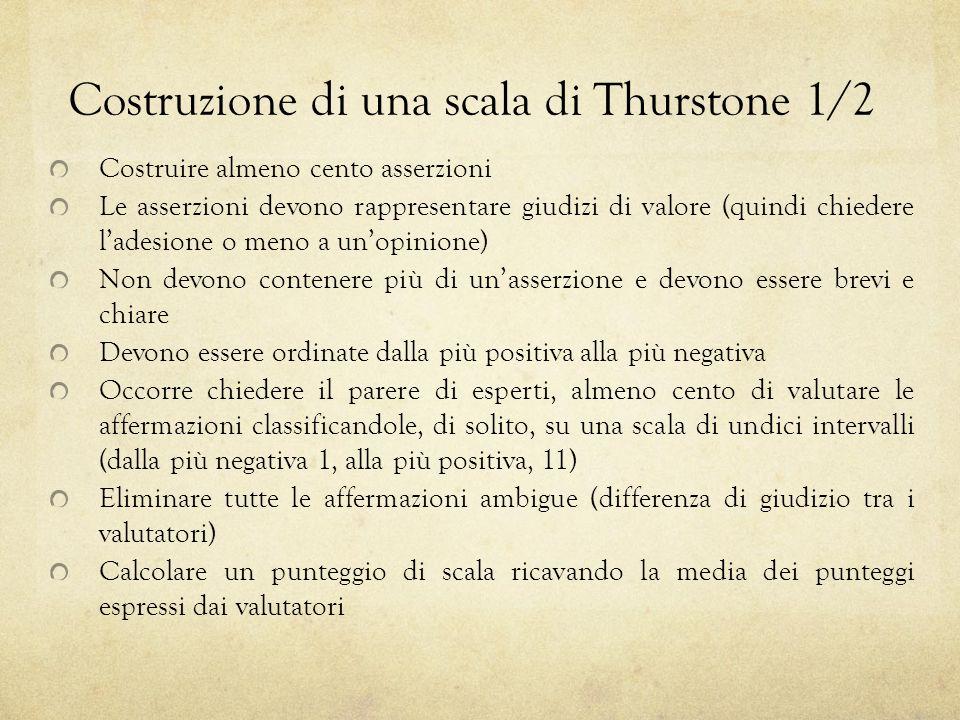 Costruzione di una scala di Thurstone 1/2 Costruire almeno cento asserzioni Le asserzioni devono rappresentare giudizi di valore (quindi chiedere lade