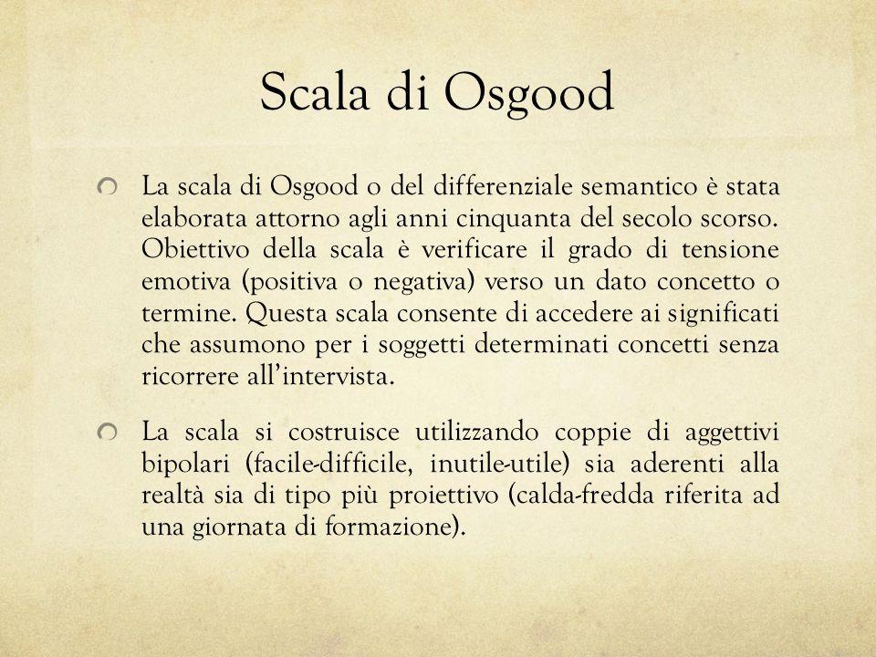 Scala di Osgood La scala di Osgood o del differenziale semantico è stata elaborata attorno agli anni cinquanta del secolo scorso. Obiettivo della scal