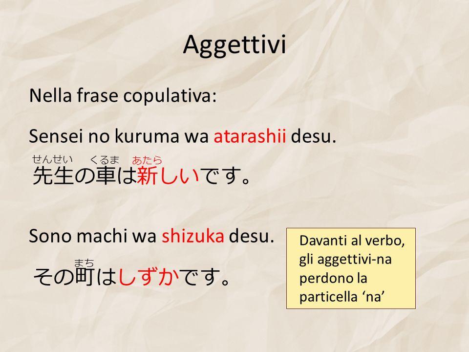 Aggettivi Sensei no kuruma wa atarashii desu. Nella frase copulativa: Sono machi wa shizuka desu. Davanti al verbo, gli aggettivi-na perdono la partic