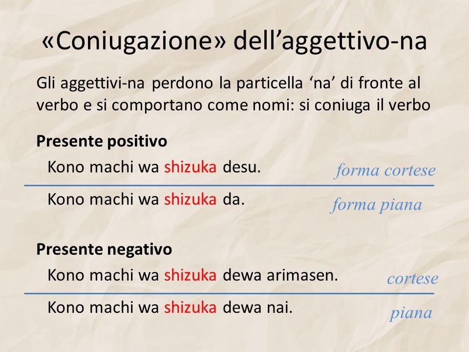 «Coniugazione» dellaggettivo-na Gli aggettivi-na perdono la particella na di fronte al verbo e si comportano come nomi: si coniuga il verbo Presente p