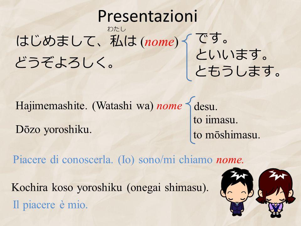 Presentazioni (nome) Hajimemashite. (Watashi wa) nome to iimasu. to mōshimasu. Dōzo yoroshiku. desu. Piacere di conoscerla. (Io) sono/mi chiamo nome.