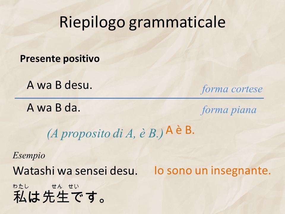 Riepilogo grammaticale A wa B desu. (A proposito di A, è B.) forma piana forma cortese A wa B da. Presente positivo A è B. Watashi wa sensei desu. Ese