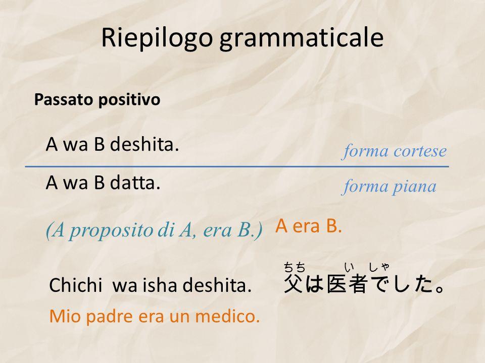 Riepilogo grammaticale A wa B deshita. (A proposito di A, era B.) forma piana forma cortese A wa B datta. Passato positivo Chichi wa isha deshita. Mio
