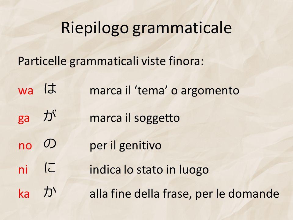 Riepilogo grammaticale Particelle grammaticali viste finora: ka alla fine della frase, per le domande no per il genitivo ga marca il soggetto wa marca