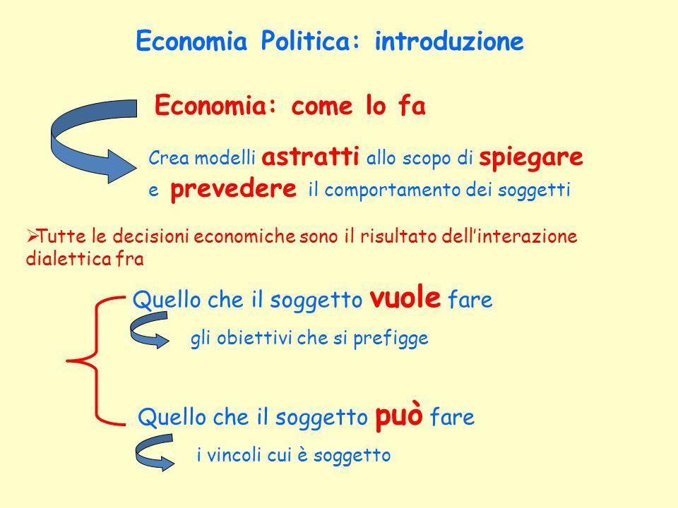 Economia Politica: introduzione Economia: può non essere politica.