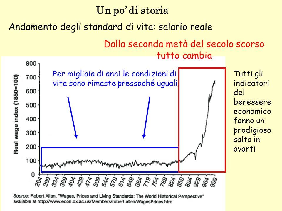 Un po di storia Lo stesso andamento osserveremmo con altri indicatori Andamento demografico