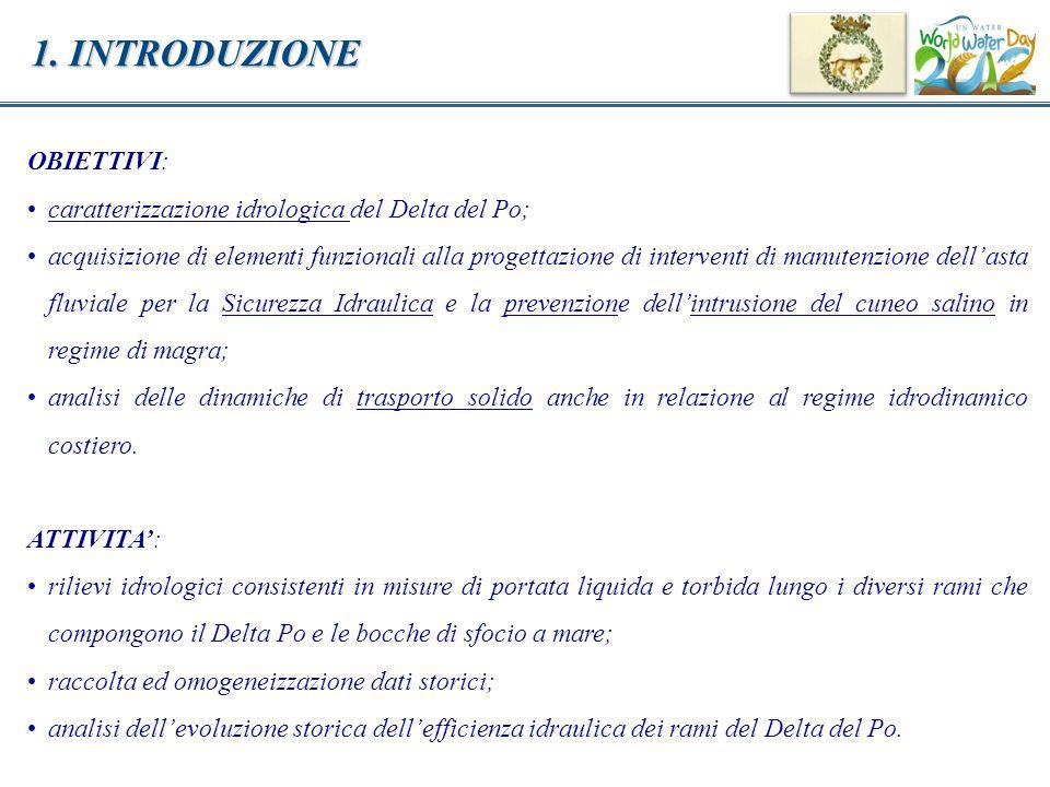 1. INTRODUZIONE OBIETTIVI: caratterizzazione idrologica del Delta del Po; acquisizione di elementi funzionali alla progettazione di interventi di manu