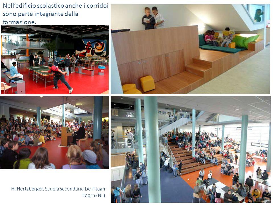 Nelledificio scolastico anche i corridoi sono parte integrante della formazione. H. Hertzberger, Scuola secondaria De Titaan Hoorn (NL)