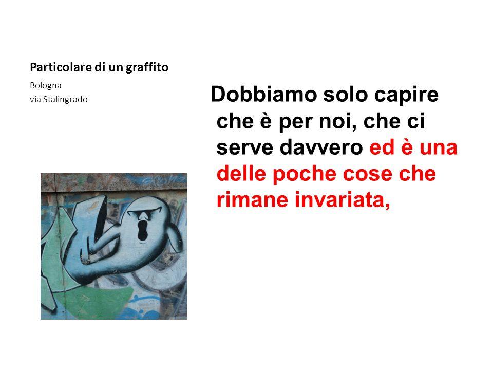 Particolare di un graffito Dobbiamo solo capire che è per noi, che ci serve davvero ed è una delle poche cose che rimane invariata, Bologna via Stalin