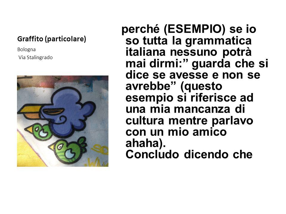 Graffito (particolare) perché (ESEMPIO) se io so tutta la grammatica italiana nessuno potrà mai dirmi: guarda che si dice se avesse e non se avrebbe (