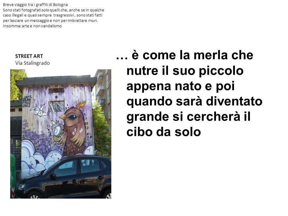 Street art Blu & Ericailcane Centro sociale Katia Bertasi Bologna Io credo che la cultura sia come una valigia di informazioni che usiamo per non trovarci impreparati davanti alle difficoltà/sfide della vita o per non farci mettere i piedi in testa da nessuno