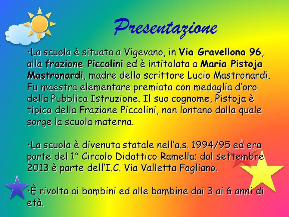 Presentazione La scuola è situata a Vigevano, in Via Gravellona 96, alla frazione Piccolini ed è intitolata a Maria Pistoja Mastronardi, madre dello s