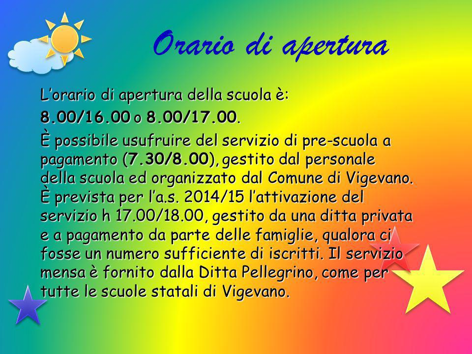 Orario di apertura Lorario di apertura della scuola è: 8.00/16.00 o 8.00/17.00. È possibile usufruire del servizio di pre-scuola a pagamento (7.30/8.0