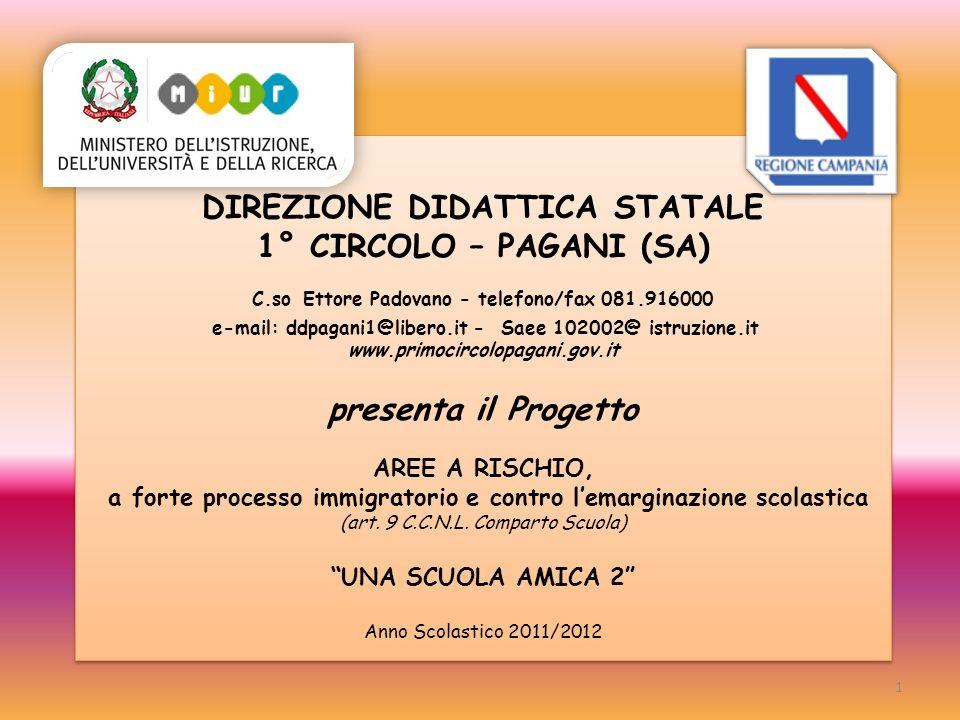 DIREZIONE DIDATTICA STATALE 1° CIRCOLO – PAGANI (SA) C.so Ettore Padovano - telefono/fax 081.916000 e-mail: ddpagani1@libero.it - Saee 102002@ istruzi