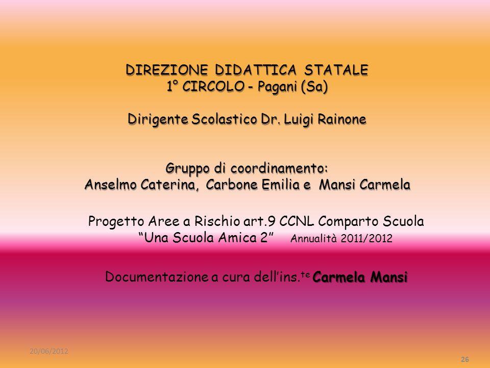 DIREZIONE DIDATTICA STATALE 1° CIRCOLO - Pagani (Sa) Dirigente Scolastico Dr. Luigi Rainone Gruppo di coordinamento: Anselmo Caterina, Carbone Emilia