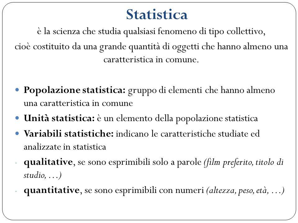 Statistica è la scienza che studia qualsiasi fenomeno di tipo collettivo, cioè costituito da una grande quantità di oggetti che hanno almeno una carat