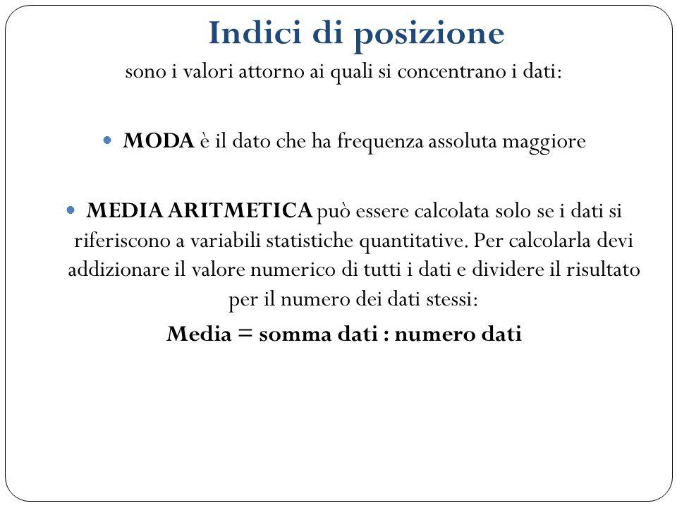 Indici di posizione sono i valori attorno ai quali si concentrano i dati: MODA è il dato che ha frequenza assoluta maggiore MEDIA ARITMETICA può esser