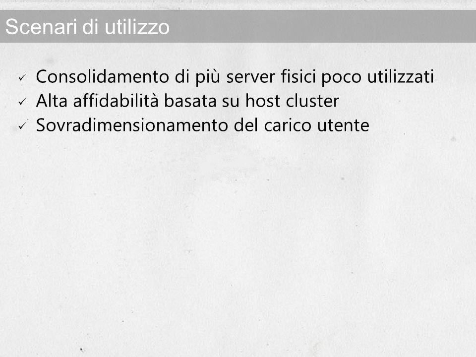 Scenari di utilizzo Consolidamento di più server fisici poco utilizzati Alta affidabilità basata su host cluster Sovradimensionamento del carico utente