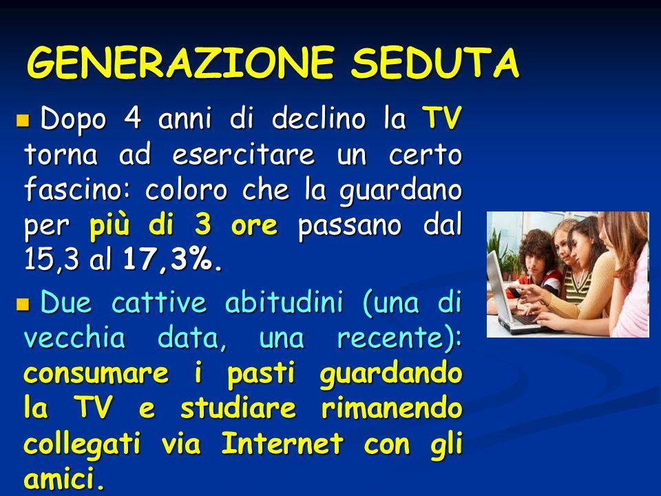 GENERAZIONE SEDUTA Dopo 4 anni di declino la TV torna ad esercitare un certo fascino: coloro che la guardano per più di 3 ore passano dal 15,3 al 17,3