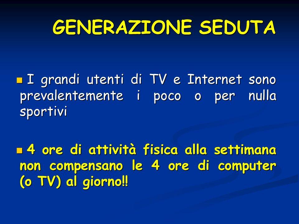 GENERAZIONE SEDUTA I grandi utenti di TV e Internet sono prevalentemente i poco o per nulla sportivi I grandi utenti di TV e Internet sono prevalentem