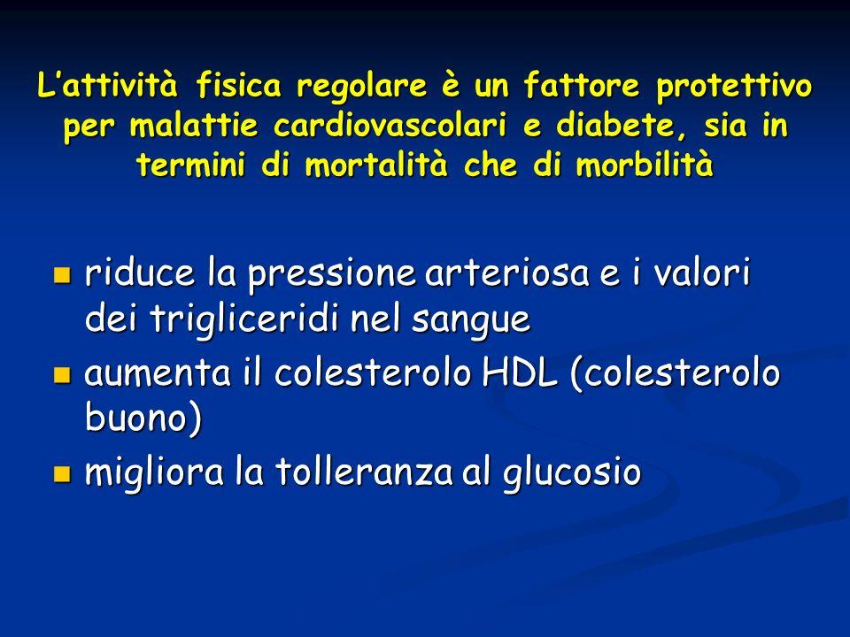 Lattività fisica regolare è un fattore protettivo per malattie cardiovascolari e diabete, sia in termini di mortalità che di morbilità riduce la press