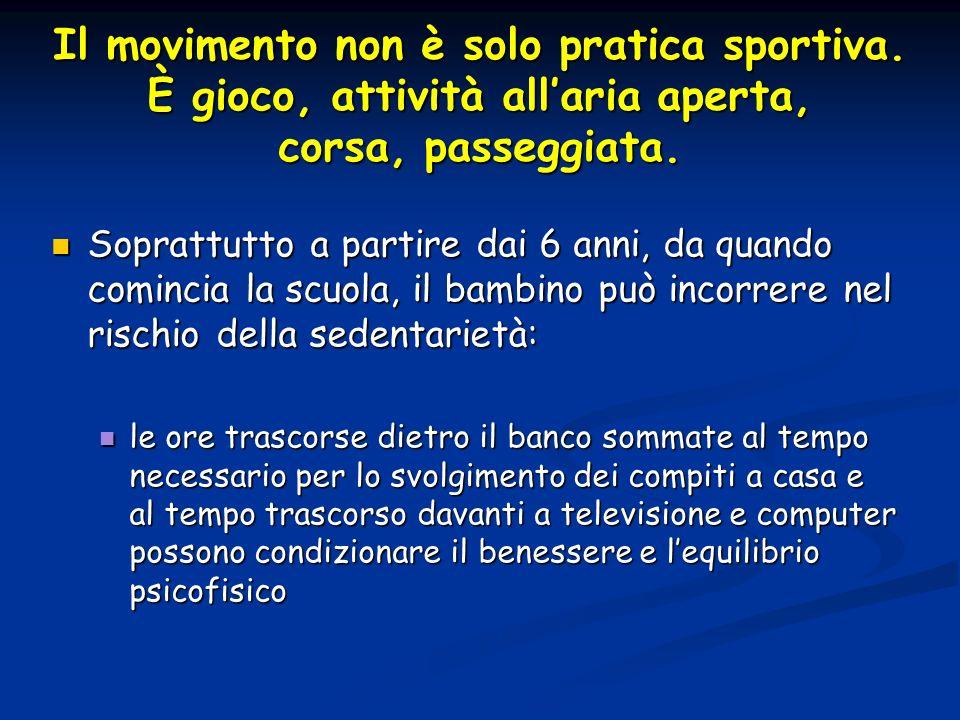 Il movimento non è solo pratica sportiva. È gioco, attività allaria aperta, corsa, passeggiata. Soprattutto a partire dai 6 anni, da quando comincia l