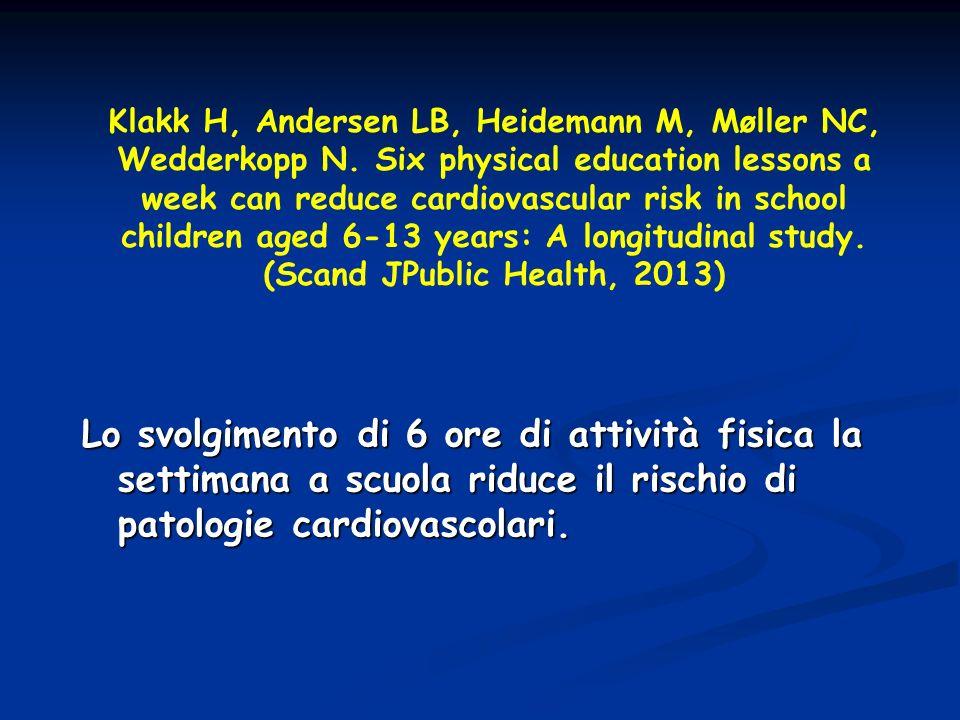 Klakk H, Andersen LB, Heidemann M, Møller NC, Wedderkopp N. Six physical education lessons a week can reduce cardiovascular risk in school children ag